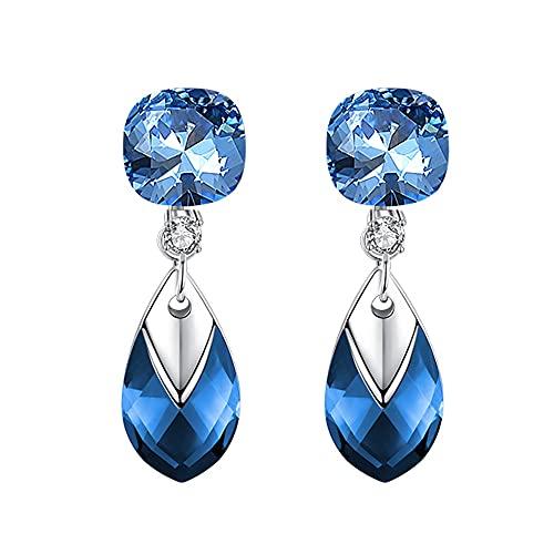 AZPINGPAN Pendientes de Diamantes de Corte tridimensionales Americana, versión Coreana Colgante de Cristal con Gota de Agua 925 Aguja de Oreja de Plata esterlina Señora Exquisita Joy
