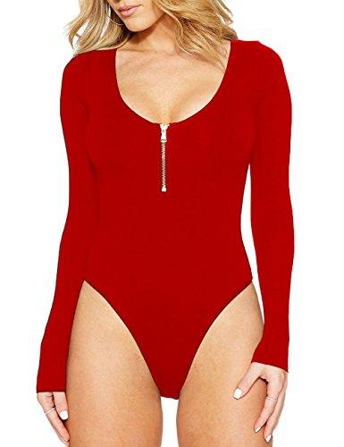 HAHAEMMA Body para Mujer Elástico de Manga Larga Cuello Redondo con Cremallera Sexy Bodies Bodysuit Top Leotardo Una Sola Pieza Shapewear