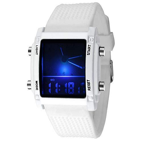 Quadrante quadrato da uomo Dual Time Display Display Allarme LED colorato Orologio sportivo Orologio da polso elettronico Nuovo