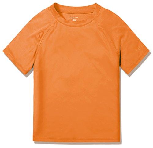 TSLA UPF 50+ Youth Kids Rash Guard Short Sleeve, UV/SPF Surf Swim Shirt, Aqua Water Swimsuit Top,Swim Shirt(bss30) - Orange, 8 X-Small