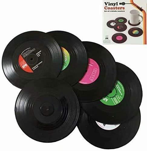 Juego de 6posavasos, diseño de discos de vinilo, para tazas de té, bebidas, etc.
