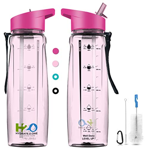 Hydrate 2.One BPA Free Water Bottle with Straw & Motivational Time Markers | Leakproof Sports Bottle for Camping Workouts Gym & Outdoor Activity | 750ml (Pink)