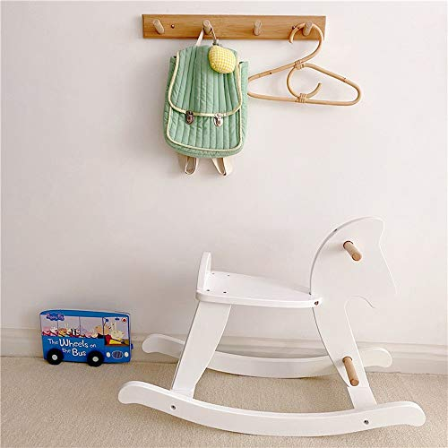 SXNYLY Children Wooden Rocking Horse, Baby Wood Ride On Toys for 1-3 Year Old, White Rocker Toy for Kid, Toddler Ride Animal Indoor/Outdoor, Infant Ride Toy