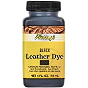 Fiebing's Leather Dye 4oz Black - alcohol based penetrating & permanent leather dye