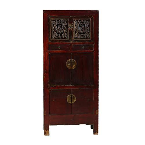 Yajutang Antiker Hochzeitsschrank aus China 6 Türen mit Schnitzereien braun