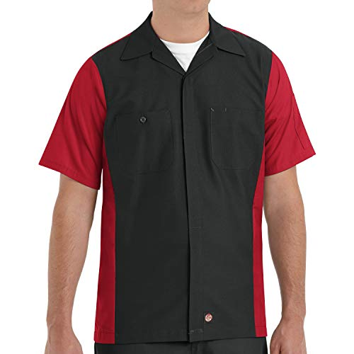 Red Kap Standard Ripstop Crew Shirt, Short Sleeve, Black/Red, Large Tall