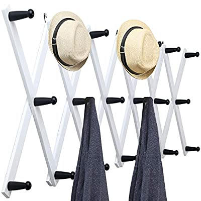 WEBI Accordian Wall Hanger,Wooden Expandable Coat Rack Wall Mounted,Hat Rack for Wall,Accordion Wall Rack for Hats,Caps,20 Peg Hooks,Black on White