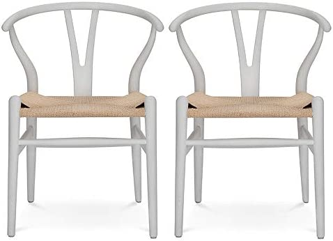 Best VODUR Wishbone Chair Natural Solid Wood Dining Chair/Hans Wegner Y Chair Rattan and Wood Accent Armr