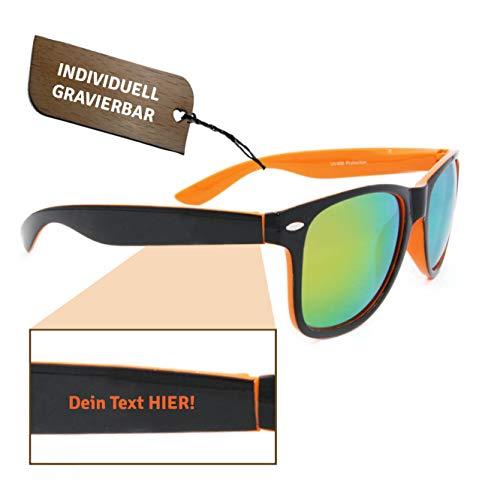 W&S Sonnenbrille individuell | Gravur | Geschenk | Verspiegelt (Schwarz-Orange)