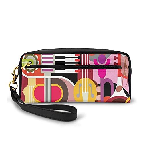 Con bolsa de lápiz con cremallera,Gráfico complejo con varias propiedades musicales iconos teclado Festival Piano Design,Estuche pequeño maquillaje bolsa