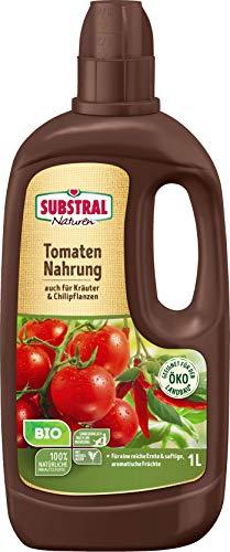 Substral Naturen Bio Tomaten und Kräuter Nahrung, Tomatendünger flüssig aus natürlichen Rohstoffen und hohem Kaliumgehalt für schmackhafte Tomaten & andere Früchte, 1 Liter Flasche