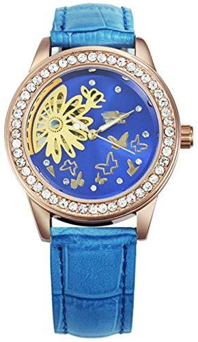 JDHFKS Reloj Mujer púrpura patrón de Cuero de la Correa de la Flor del diseño único de Negocios Damas de Pulsera los 23CM