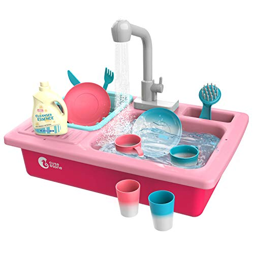 CUTE STONE Color Changing Play Kitchen Sink Toys, Children...