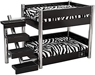 LazyBonezz Metropolitan Wood Pet Bunk Bed for Small Dogs and Cats with 2 Soft Cushions, 2 Cushion Covers and Stairs