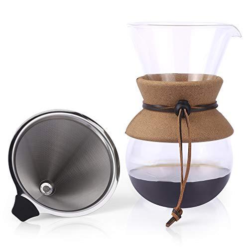 Caffettiera Pour Over con Filtro Apace Living – Edizione 2019 – Elegante Dripper per caffè ad infusione con Caraffa in Vetro & Filtro Permanente in Acciaio Inox