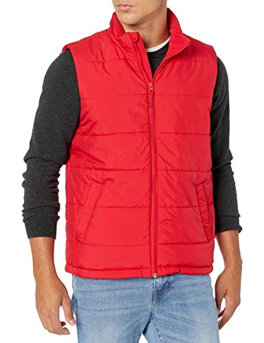 Amazon Essentials Mid-Weight Puffer Outerwear-Vests, Rot, M