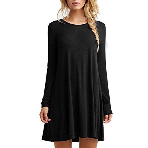 HUAYIN Donna Estate Sciolto Manica Corta Casual Colletto Rotondo Vestito (Black-Long Sleeve, M)