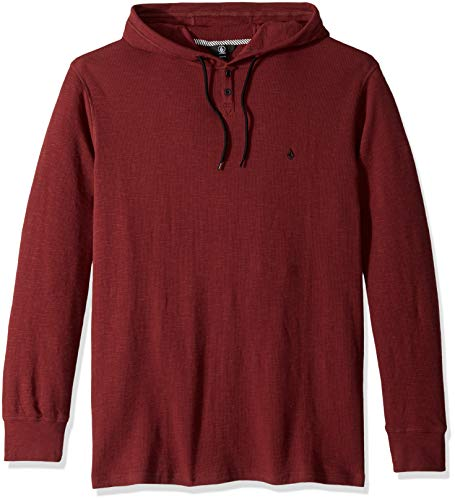 Volcom Men#039s Murphy Long Sleeve Hooded Thermal Shirt Bordeaux Brown Extra Small