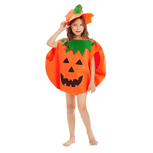Dusor Kürbis Kostüm Kinder Kürbiskostüm Halloween Kostüm Kinder Kürbis für Halloween Cosplay Party Kinder Halloween Kostüm Kürbis Kind Inklusive Halloween Kürbiskleidung und Hut