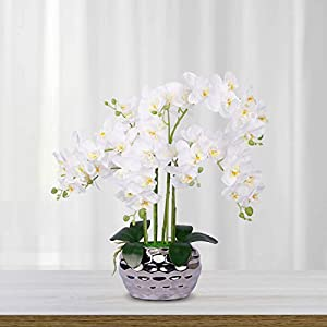 LIVILAN Artificial Flowers Orchid Fake Faux Plant Phalaenopsis Silk Orchid Flower for Home Decor Party Wedding Table centerpieces White with Silver vase