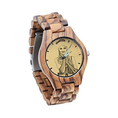 Personalisierte Foto-Uhr Gravierte Textuhr Grüne Gürtel-Uhr Bambus- und Holzuhr-Kleidung Passend zu Weihnachten für Männer(braun Männer-45mm)