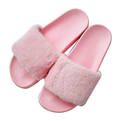 COFACE Damen Hübsche Plüsche Hausschuhe Eva rutschfeste Pantoffeln Outdoor/Indoor in 5 Farben,Rosa-39