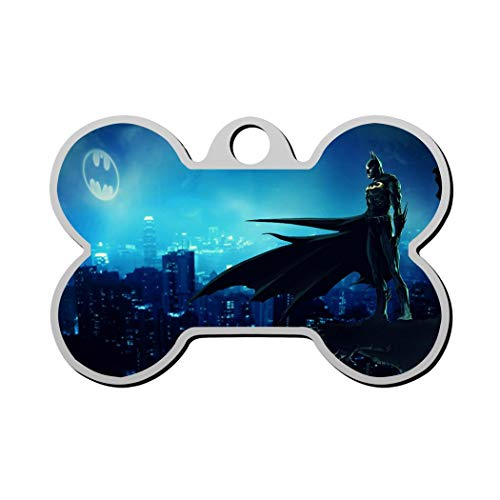 GPZHM Batman Pet Tag - Bone Shaped Dog Tag & Cat Tags Pet ID Tag Personalized Custom Your Pet's Name & Number 3D Printing