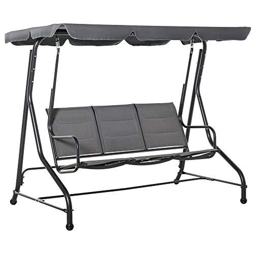 Outsunny Hollywoodschaukel 3-Sitzer Gartenschaukel Schaukelbank mit verstellbarem Sonnendach Stahl Polyester Grau 205 x 118 x 170 cm