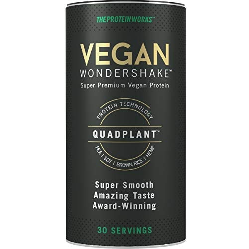 THE PROTEIN WORKS Vegan Wondershake, Vegan Protein Shake, Super Smooth, Amazing Taste, 30 Servings, Choc Caramel Biscuit, 750 g