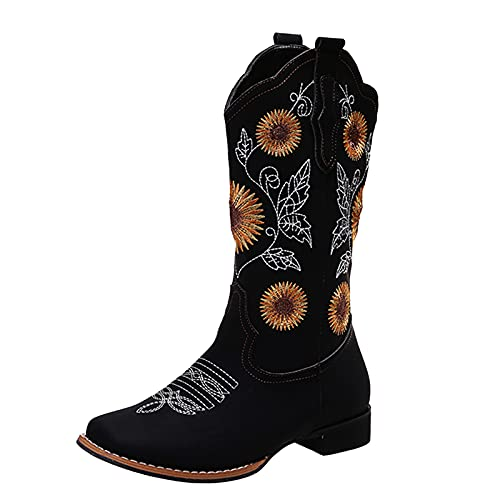 Fullwei Cowboy Boots for Women,Women Vintage Cowgirl Sunflower Embroidery Ethnic Western Boot Mid Wide Calf Pull-Up Motorcycle Riding Boot Walking Shoe (Black, 8.5)