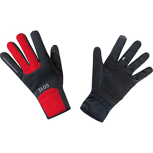 GORE Wear Guantes cortavientos unisex, M GORE WINDSTOPPER Thermo Gloves, Talla: 9, Color: Negro/Rojo, 100310