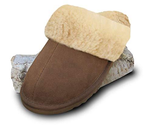 Heitmann Damen- und Herren Lammfell-Hausschuhe Pantoffeln Braun (383) Größe 40