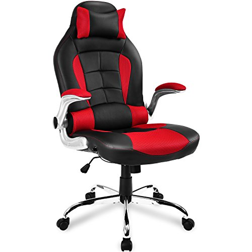 Merax Swivel Gaming Chair,Computer Chair, PU Gaming Chair with Headrest&Lumbar Cushion,Gaming Racing Office High Back Computer Video Chair Ergonomic Design with Adjustable Height