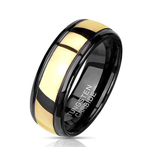 Paula & Fritz® Ring Herren Wolframcarbid goldene Mitte Gr. 62 (19,7) Schwarz/Gold 8-mm Breit Damen-Ring Partnerring Bandring Ehering Verlobungsring
