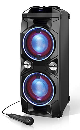 SHARP PS940 - Altavoces Bluetooth Karaoke Party con Mezclador DJ y batería Recargable incorporada, Tiempo de reproducción 14 Horas, Bluetooth, 2xUSB, SuperBass, Karaoke, Luces LED parpadeantes, 180 W