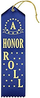 """""""A"""" Honor Roll Award Ribbons – 25 Count Value Bundle – Includes Event Card and String – Made in The USA (Blue)"""