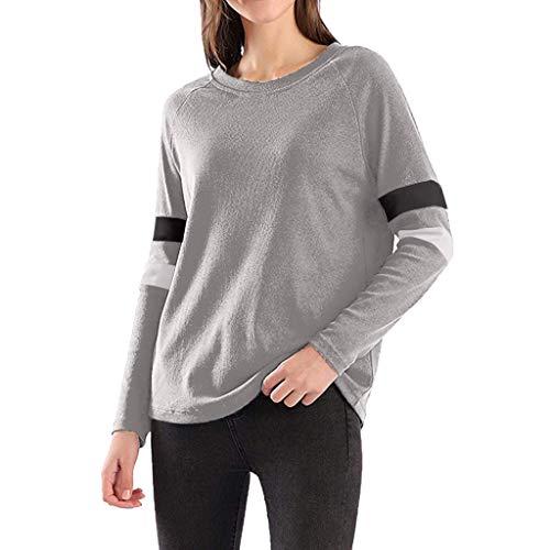 Floweworld Damen Freizeit Sweatshirt Langarm Fashion Colorblock Rundhalsausschnitt Lose Pullover Damenmode Sport Tops Blusen