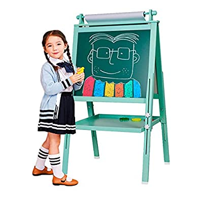 BeebeeRun 3 in 1 Wooden Kids Easel Double-Sided Drawing Board Whiteboard & Chalkboard Dry Easel with Drawing axis & Paper Roll, Numbers, Paint Cups for Writing Kids Boys Girls (Turkis)