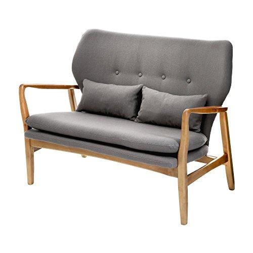 Fusion Gris tapizado de Mediados del Siglo escandinavo sofá de 2 plazas