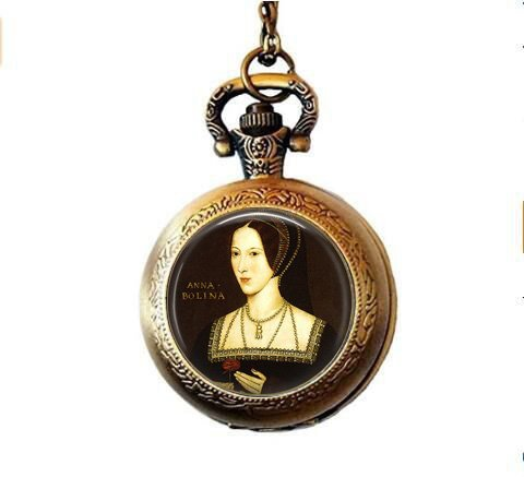 qws Anne Boleyn Portrait Pocket Watch Necklace - Henry VIII - Wives of Henry VIII - Tudor Jewelry - Anne Boleyn Picture Pocket Watch Necklace
