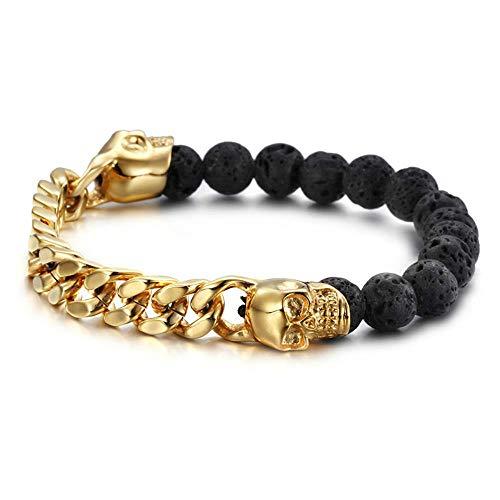 ASIG vulkanische stenen met gouden kleur roestvrij staal schedel armbanden Bangles Link ketting armband man polsband