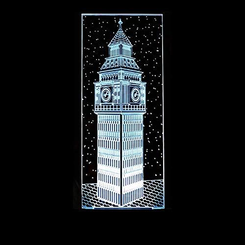 Decoración del dormitorio Mesita de noche 3d Big Ben Visual Night Light Colorido edificio de Londres Elizabeth Tower Lámpara de mesa Baby Sleep Lighting Gift