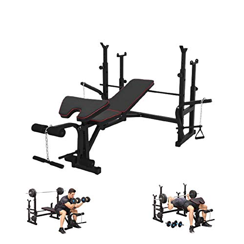 DD-upstep Olympic Weight Bench, with Strength Training Equipment Press Squat Rack Barbell, Squat Racks Weightlifting Full-Body Workout 【US Stock】 (Black A)