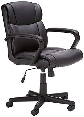AmazonBasics Leather-Padded, Ergonomic, Adjustable, Swivel Office Desk Chair with Armrest