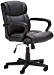 AmazonBasics Classic Leather-Padded Mid-Back Office Chair with Armrest - Black (Renewed)
