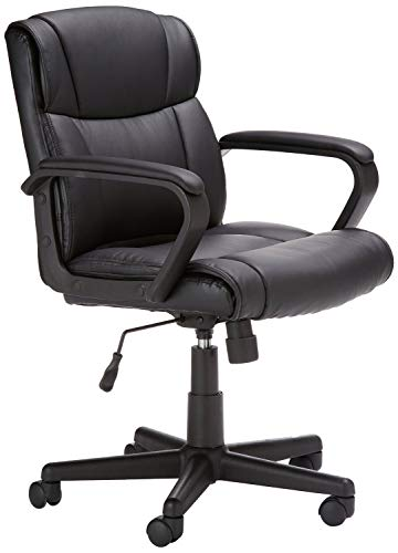 AmazonBasics Leather-Padded, Adjustable, Swivel Office Desk Chair with Armrest,...