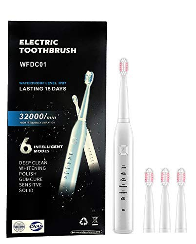 Electric Toothbrush, Adult Rechargeable Toothbrush, 6 Optional Modes and 2-Minute Built-in Timer, IPX7 Waterproof Rating, USB Fast Charging