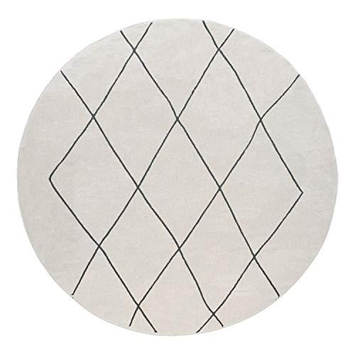 Paco Home Tapis Rond Salon Tapis Poils Ras avec Motif Diamant Scandinave Moderne Clair, Dimension:Ø 160 cm Rond, Couleur:Blanc 2