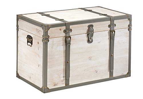 Kobolo Truhe Schatztruhe Piratentruhe TUPAI - Holz - Kalkweiß - 80x45x50 cm