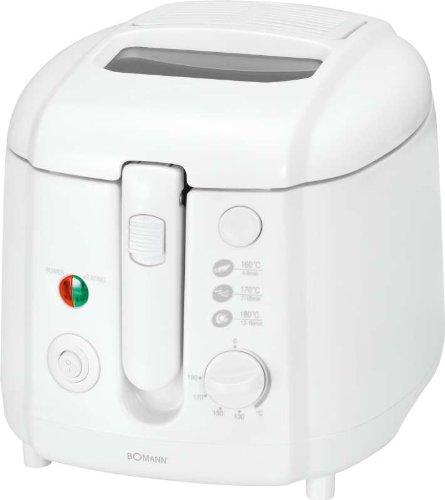 Fritteuse mit 1800 Watt 2 Liter, Friteuse mit Geruchs- und Dunst-Filter, Springdeckel und Sichtfenster, weiss